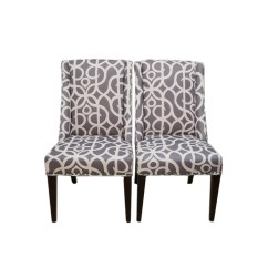 Pier One Dining Chair Folding Top Covers Pair Of Owen Wingback Chairs In Pewter Metro Ebth