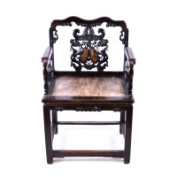 Antique Chinese Rosewood Chair with Marble Accents : EBTH