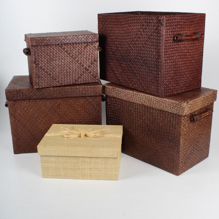 Collection of World Market Wicker Baskets  EBTH