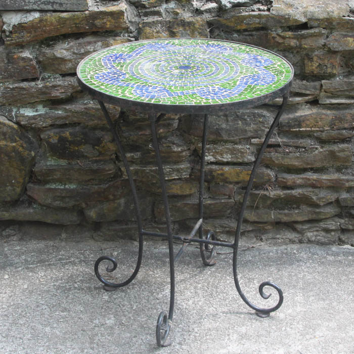 Mosaic Tile Metal Outdoor Table : EBTH