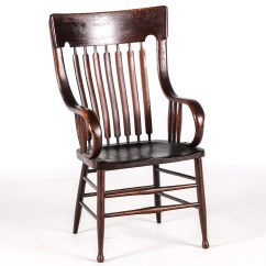 Wooden Library Chair Eames Style Dining Antique With Cattail Spindle Back Ebth