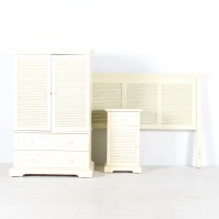 Pier 1 Entertainment Center Side Cabinet and Headboard : EBTH