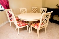 White Painted Wood Pedestal Dining Table with Six Chairs ...