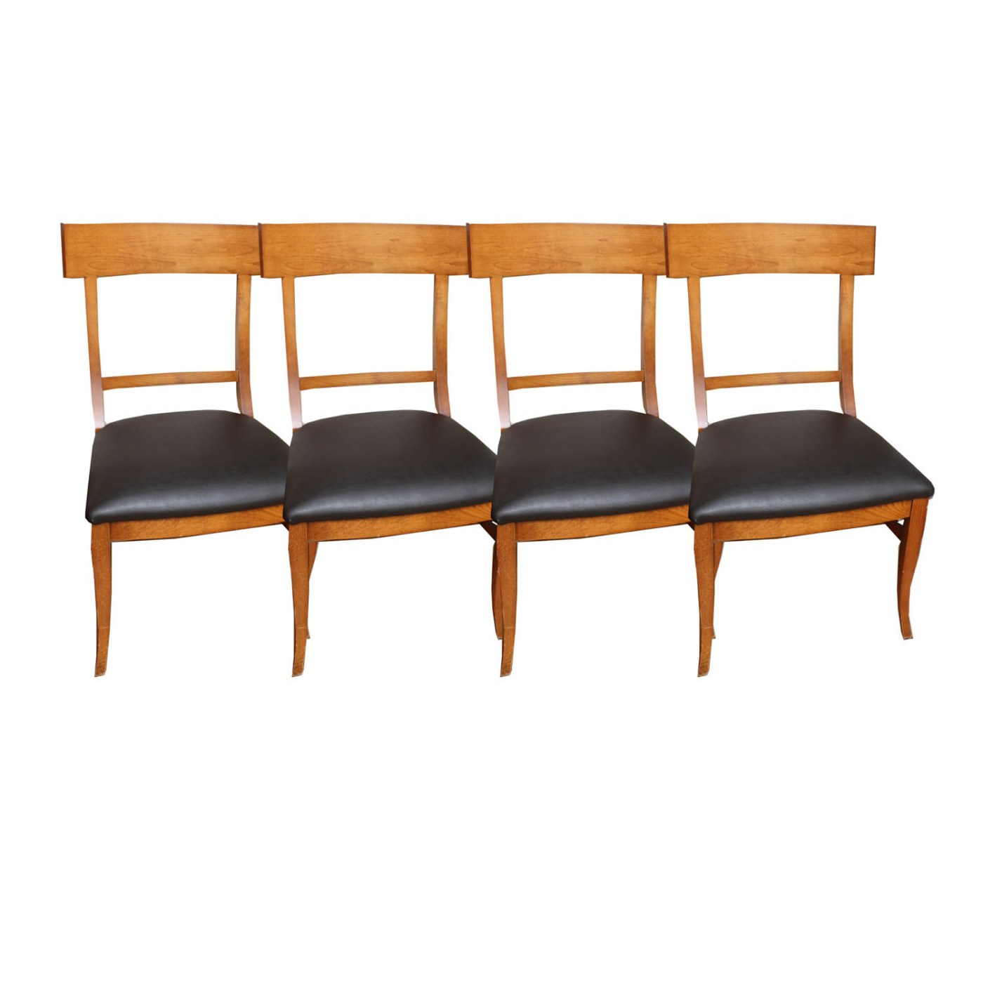 Arhaus Dining Chairs Arhaus Oak And Leather Dining Chairs Ebth