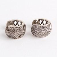 Diamond Sterling Silver Huggie Cuff Earrings : EBTH