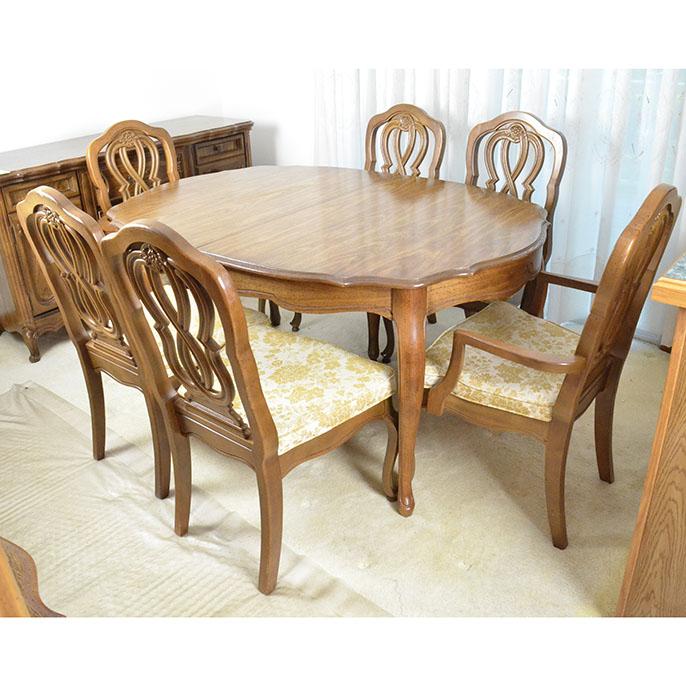 Bassett Oak Finished Dining Room Table Set  EBTH