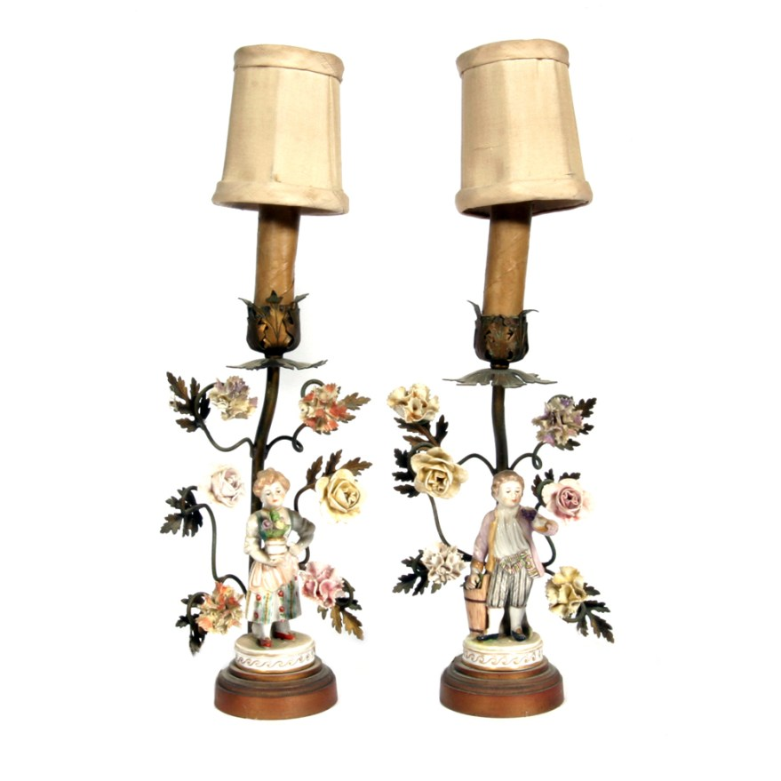 Pair of Antique French Style Table Lamps with Porcelain