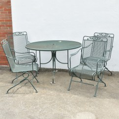 Wrought Iron Rocking Chair Gray Chaise Lounge Patio Table And Four Chairs Ebth
