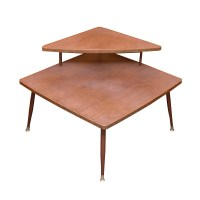 Two Tier Mid Century Modern Corner End Table : EBTH