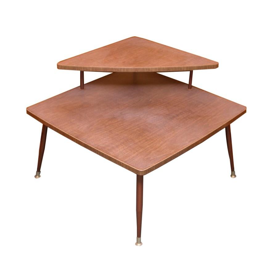 Two Tier Mid Century Modern Corner End Table : EBTH