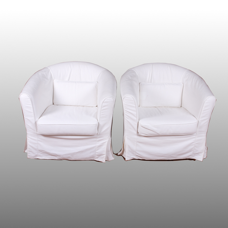 ikea barrel chair movie recliner chairs two white ebth