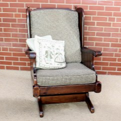 Antique Platform Rocking Chair With Springs Parsons Covers Sale Vintage Ethan Allen Pine Rocker Ebth