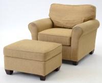 Bassett Furniture Tan Chenille Chair and Ottoman : EBTH
