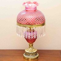 Fenton Cranberry Hobnail Hurricane Table Lamp : EBTH