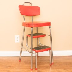 Stool Chair Red Posture Office Vintage Cosco Step Ebth