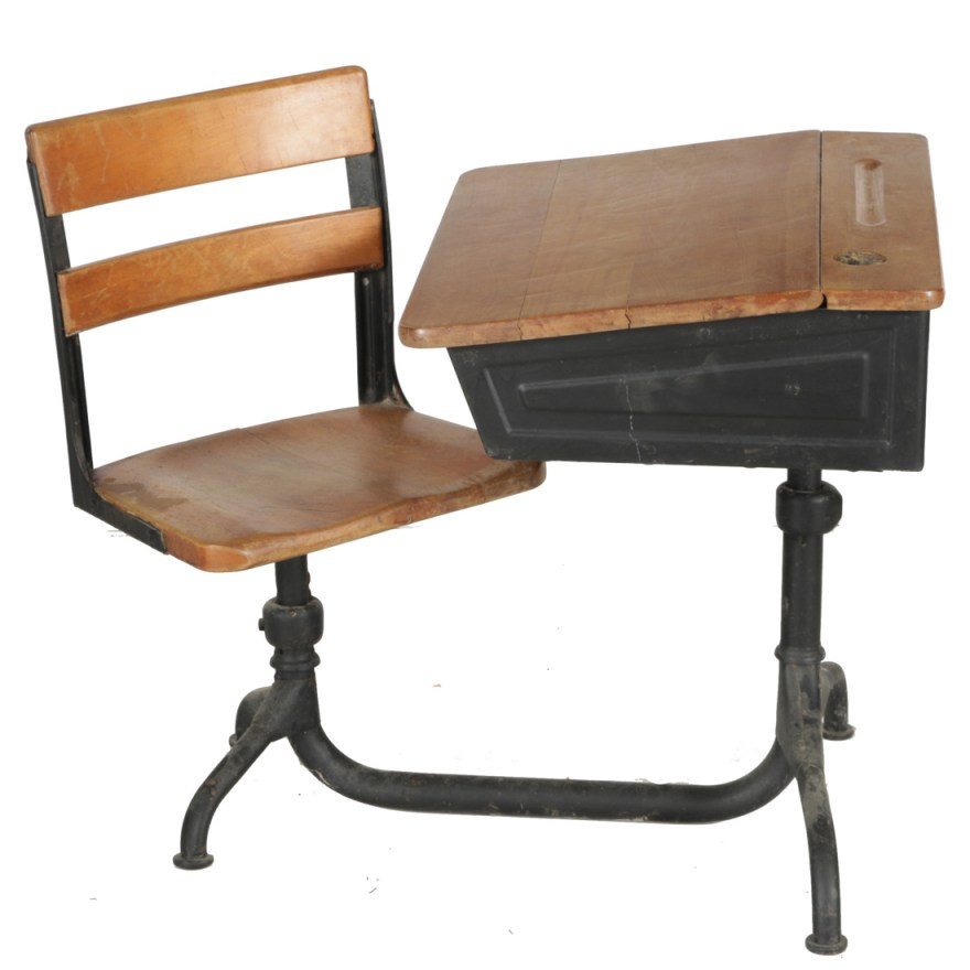 Vintage School Desk And Chair  EBTH