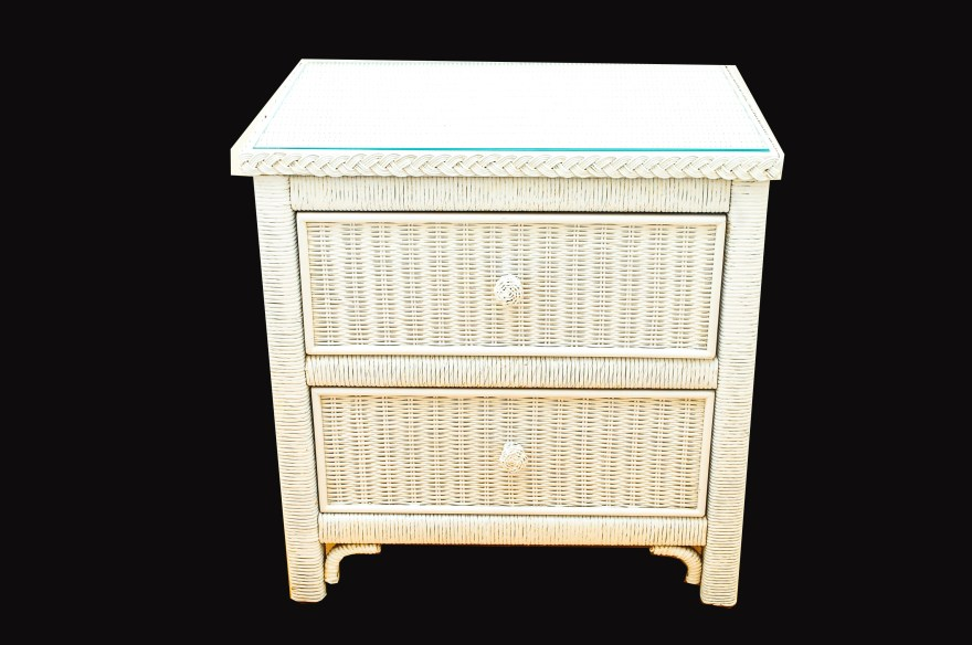 Wicker Nightstand Ebth