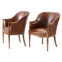 Tub Chair Brown Leather Nichols Stone Rocking Value Pair Of Sheraton Style Chairs Ebth