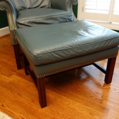 Thomasville Leather Chair Peppa Pig Table And Chairs Wing Back Ottoman Ebth
