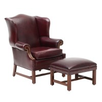 Queen Anne Style Burgundy Leather Chair and Ottoman