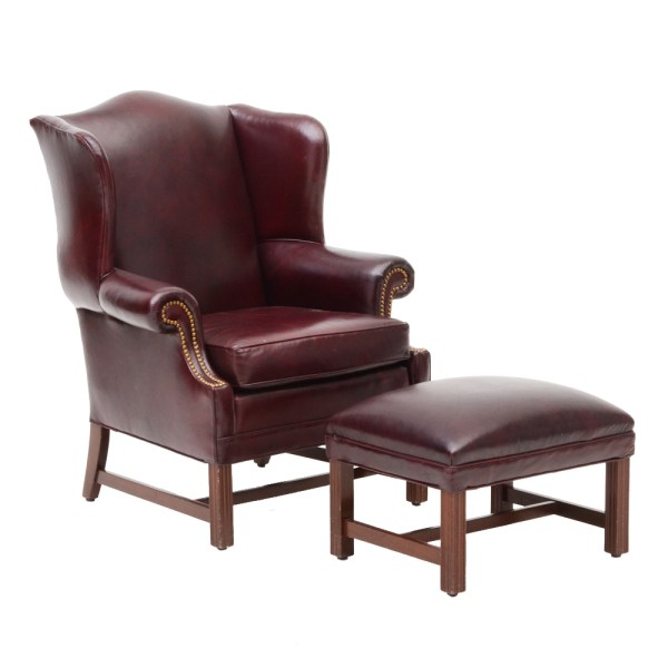 Queen Anne Style Burgundy Leather Chair and Ottoman  WVXU