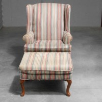 Queen Anne Style Blue Striped Wingback Chair : EBTH