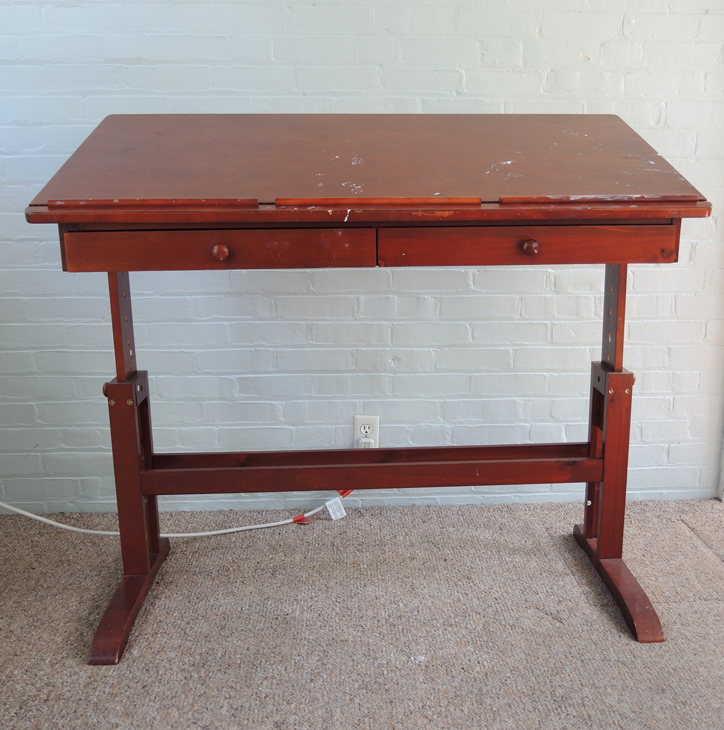 Wooden Art Craft Table With Adjustable Height And Tilt Ebth