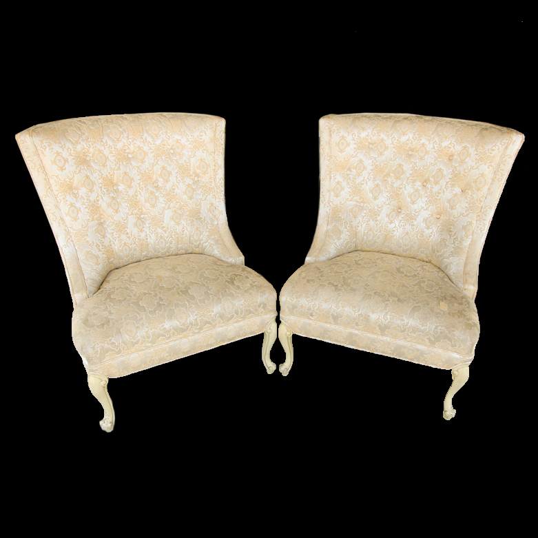 upholstered slipper chair office york vintage chairs ebth