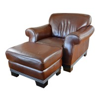 Contemporary Italian Leather Club Chair and Ottoman by ...