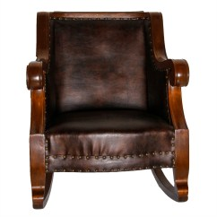 Brown Leather Rocking Chair Childrens Desk And Ebth