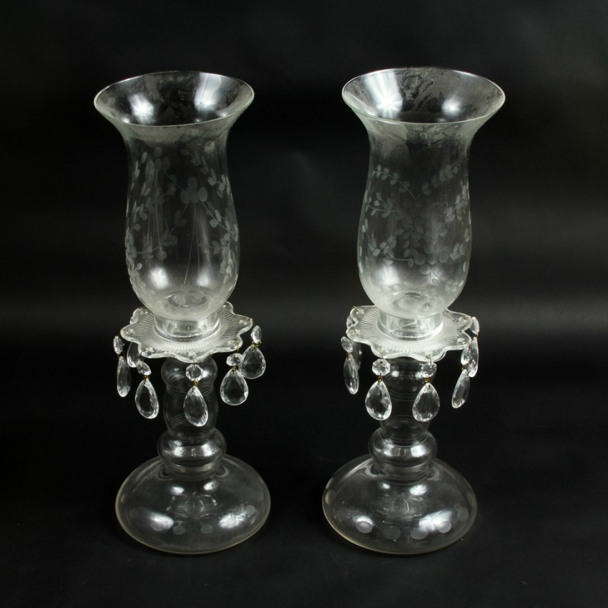 Pair Of Etched Glass Hurricane Candle Holders Ebth