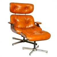Selig Leather and Wooden Chair and Ottoman : EBTH