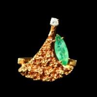 18K Yellow Gold Nugget Emerald and Diamond Ring : EBTH
