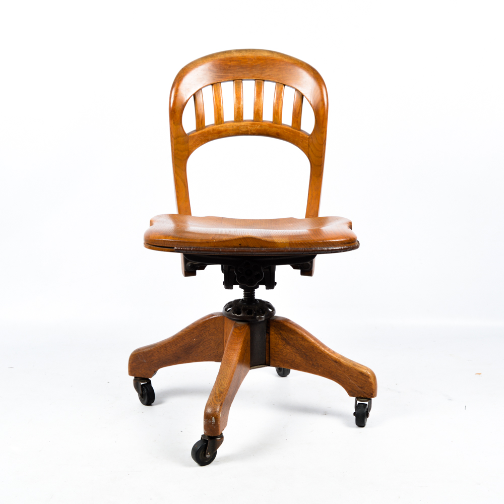 desk chair made kids camping mid century rolling oak by milwaukee co ebth