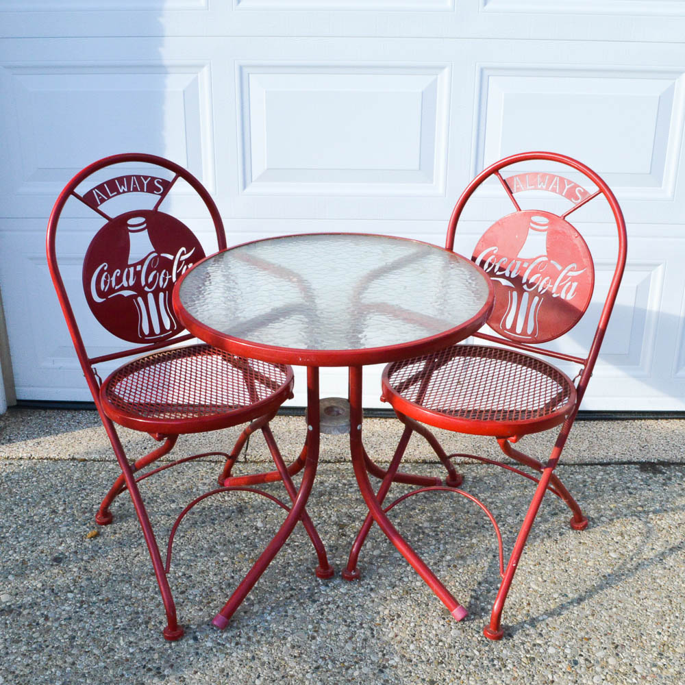 coca cola chairs and tables swing chair baby retro bistro set ebth