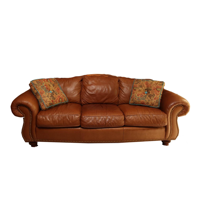 thomasville leather chair beach and umbrella clipart tan sofa ebth