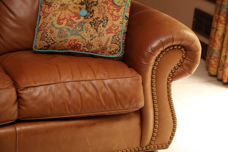 thomasville leather chair lotus posture tan sofa ebth