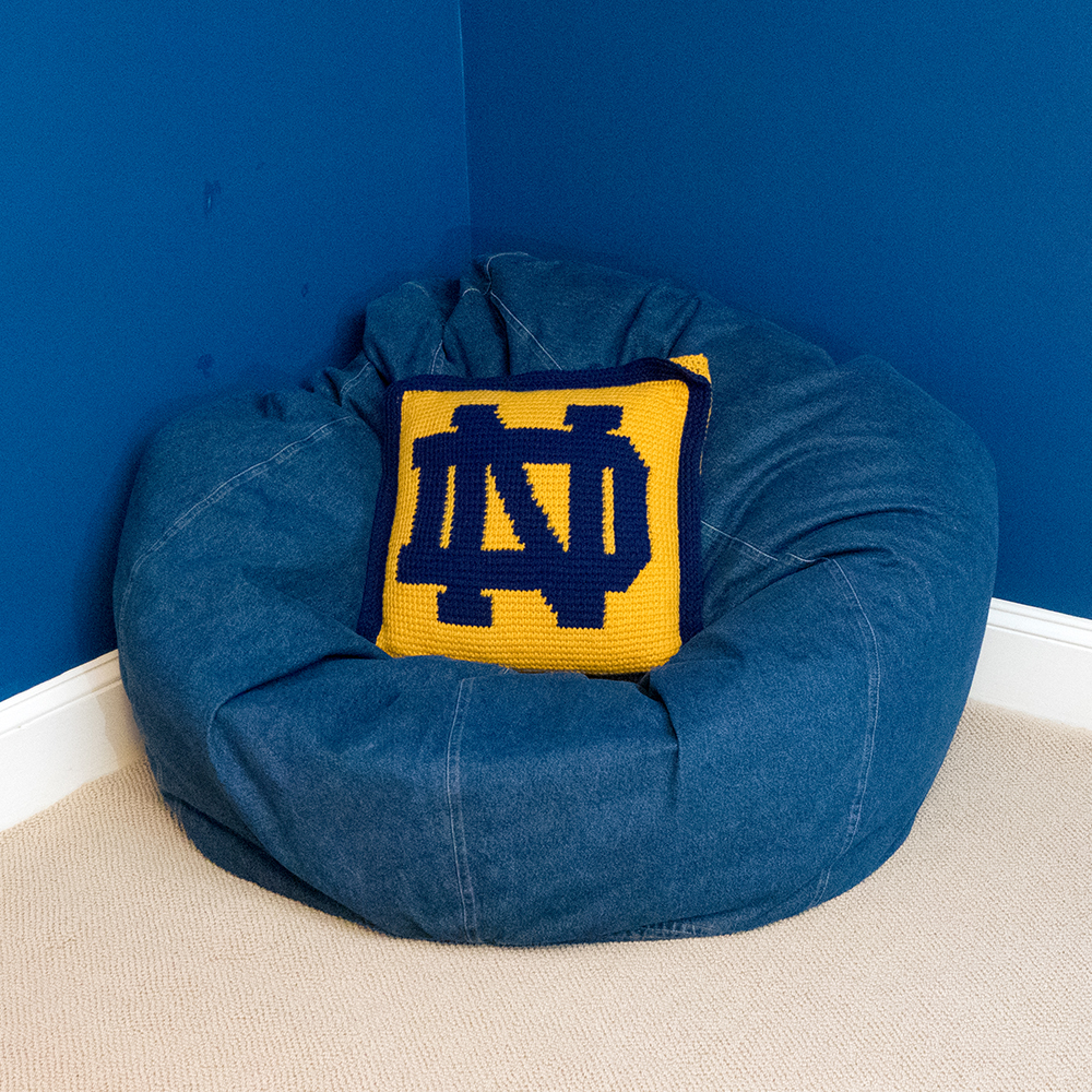 notre dame chair purple bedroom chairs pottery barn bean bag with pillow ebth