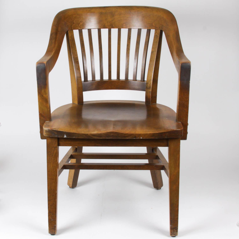 wh gunlocke chair reclining office chairs wooden w h co hardwood ebth