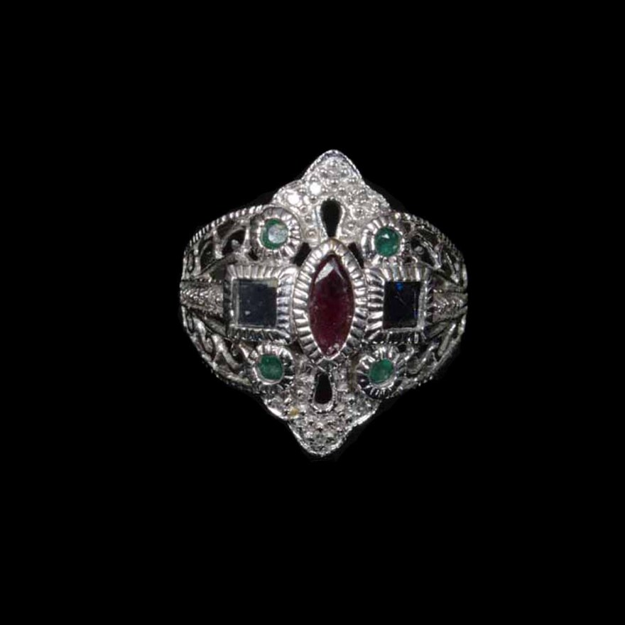 10K White Gold Ring with Diamonds Ruby Emeralds and