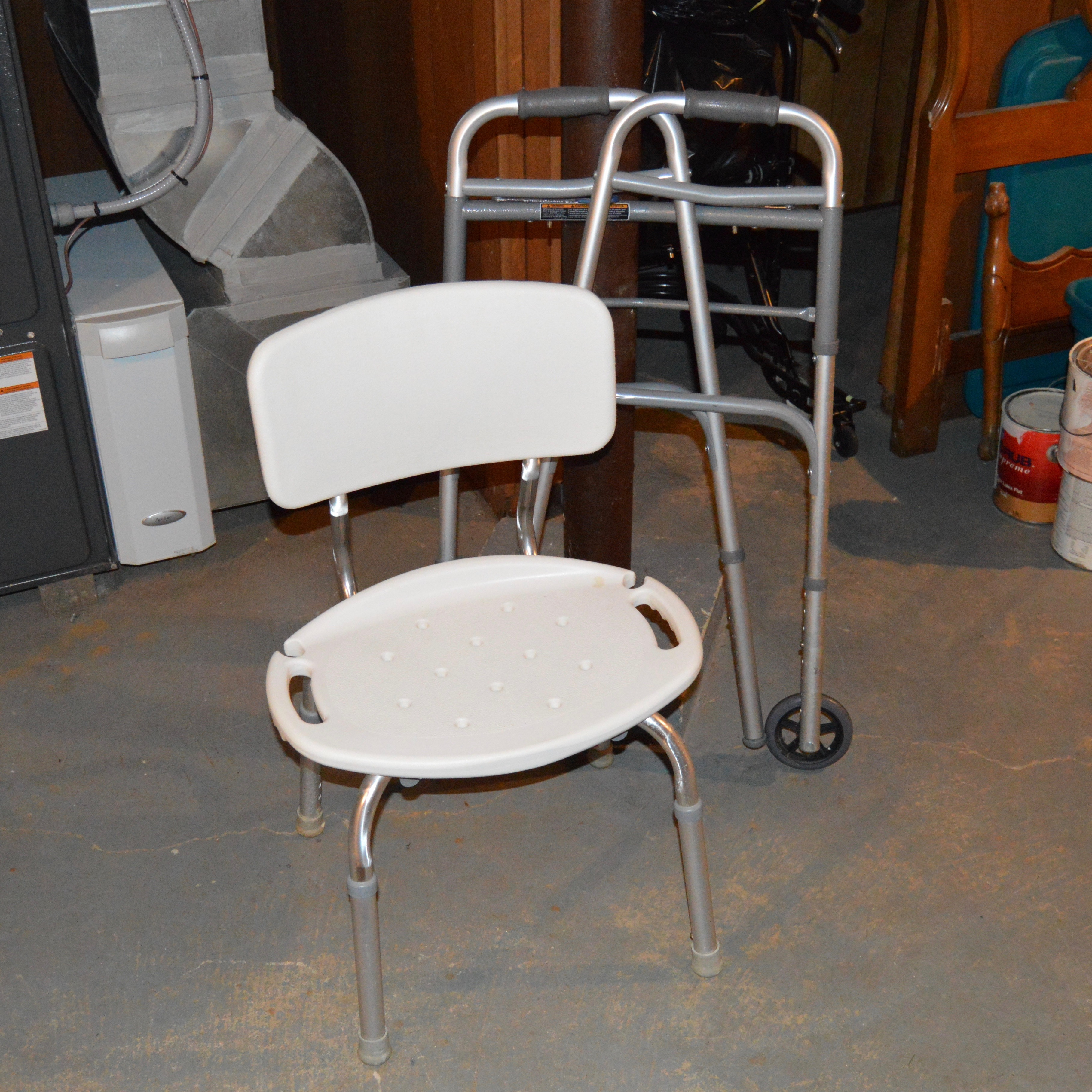 rubbermaid shower chair replacement parts accent bedroom chairs and invacare walker ebth