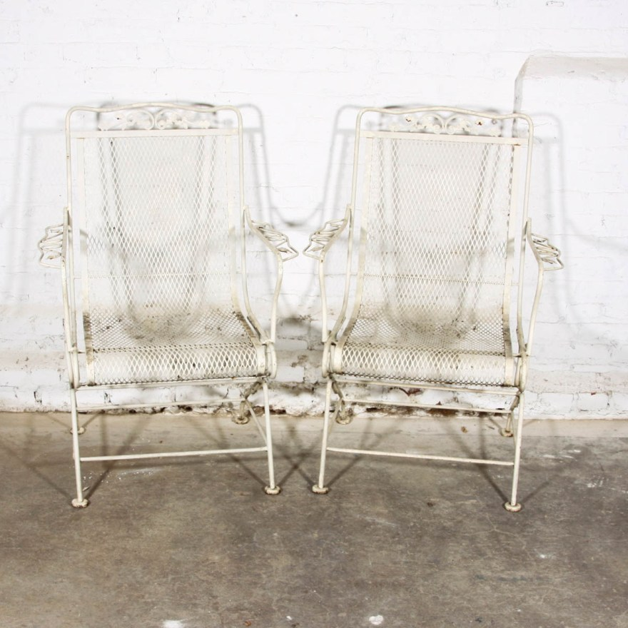 Vintage Wrought Iron High Coil Spring Patio Chairs Ebth