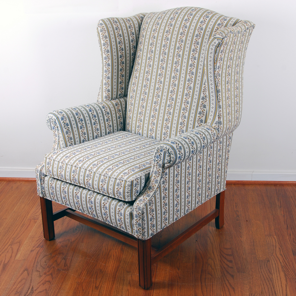 traditional wingback chair office cad block ethan allen classic ebth