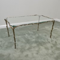 Glass Coffee Table with Tree Branch Metal Frame : EBTH
