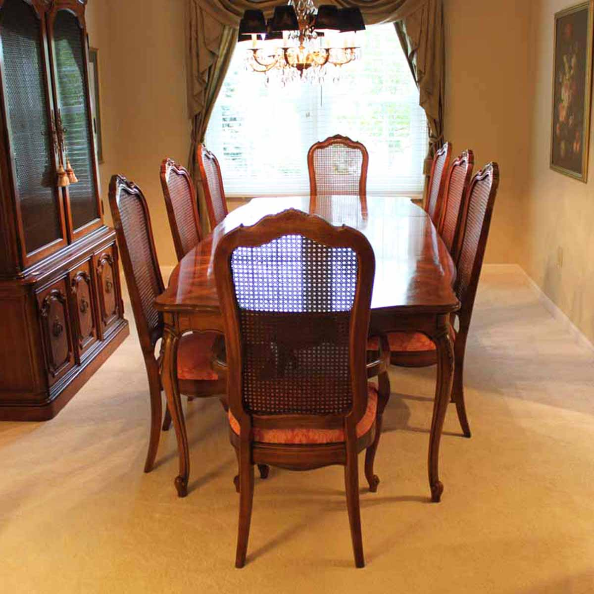 cane back dining room chairs vinyl chair covers thomasville set with ebth