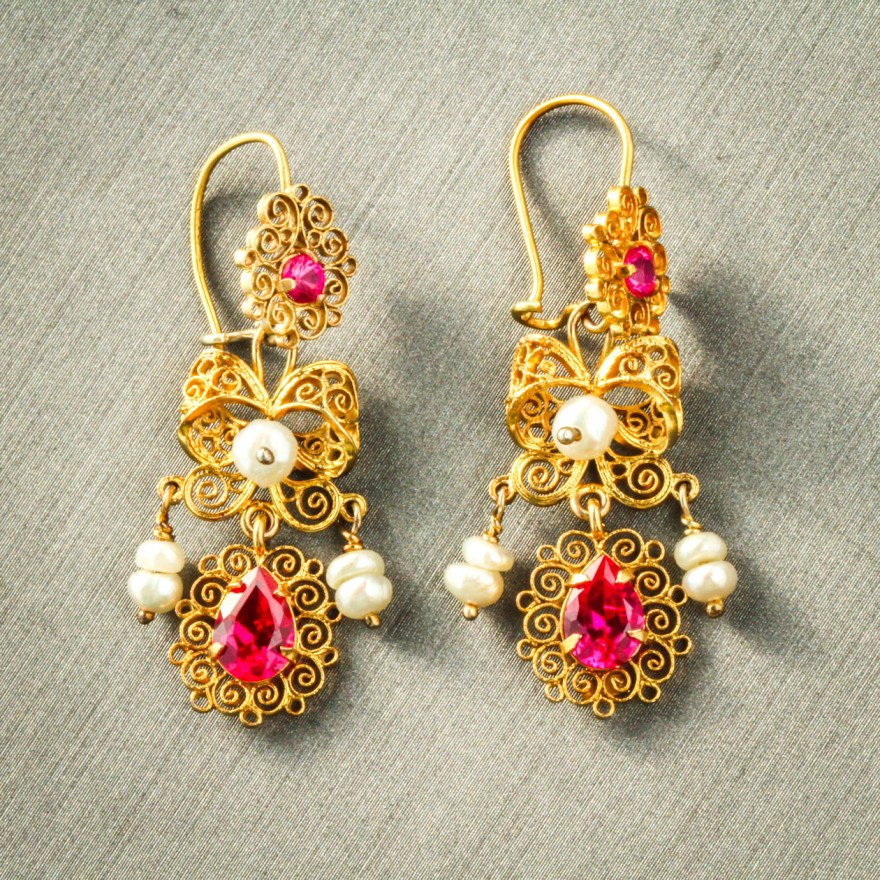 10k Traditional Oaxacan Gold Earrings With Pearls Ebth