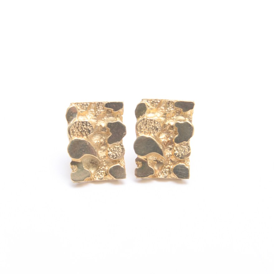 14K Gold Nugget Texture Earrings : EBTH
