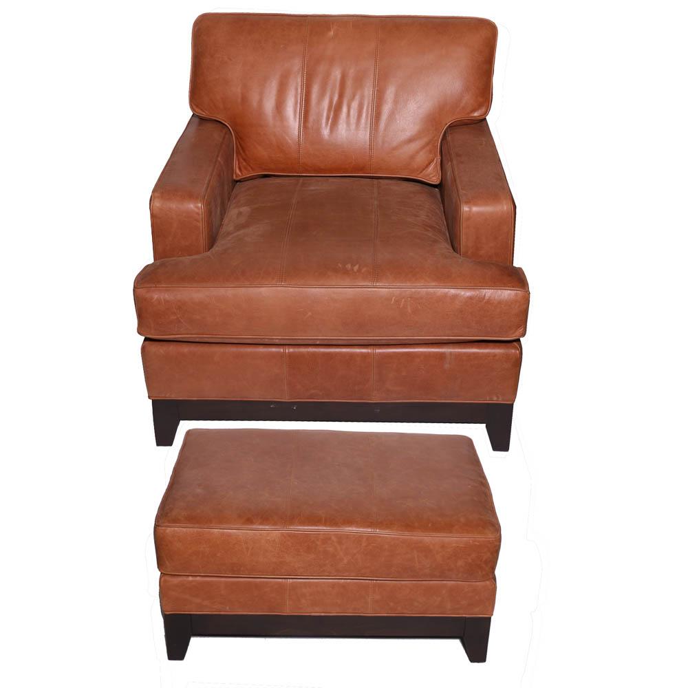 ethan allen leather chair heavy duty desk arm and ottoman ebth