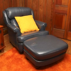 Navy Blue Chair With Ottoman Gold's Gym Leather And Ebth