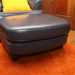 Navy Blue Leather Club Chair Nice Dining Room Covers And Ottoman Ebth